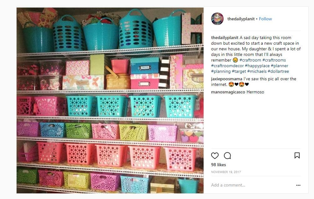 Craft room storage ideas using metal shelving and dollar store baskets