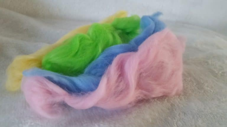 Multi-colored wool roving for creating wool crafts