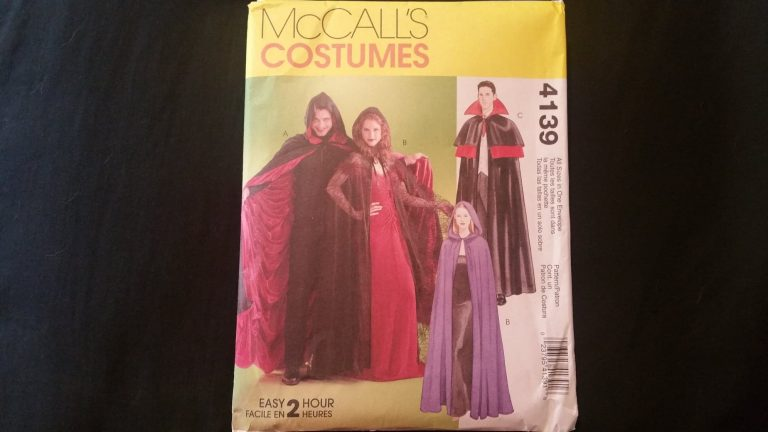 The front package of a sewing pattern for various kinds of costume capes.