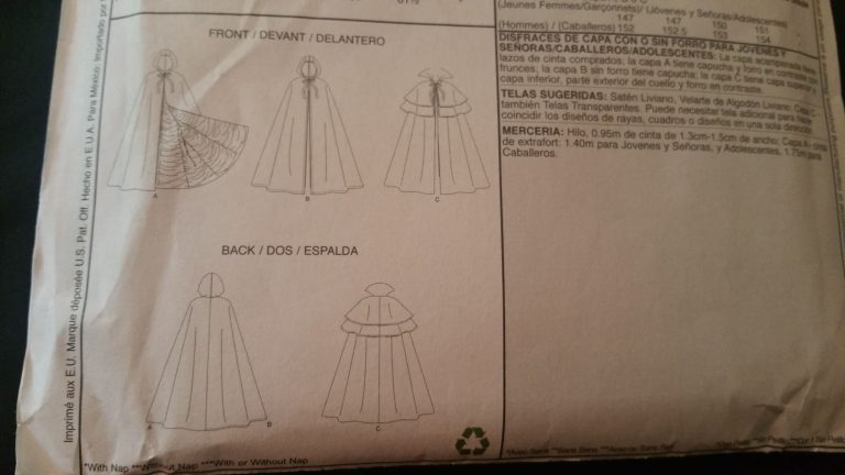 Line drawings on the back of a sewing pattern.