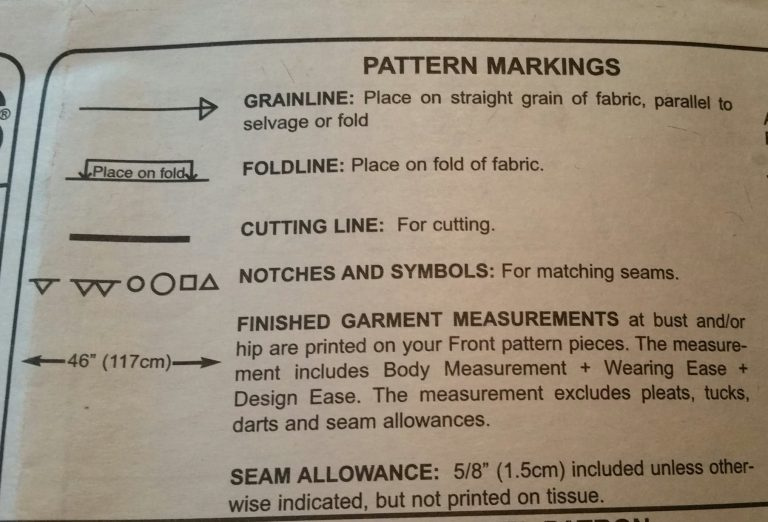 Legend on the back of a sewing pattern showing the markings used in this pattern and their meanings.