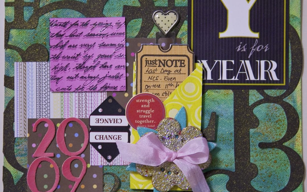 "Photo of a scrapbooking page with ""2009"" on it"