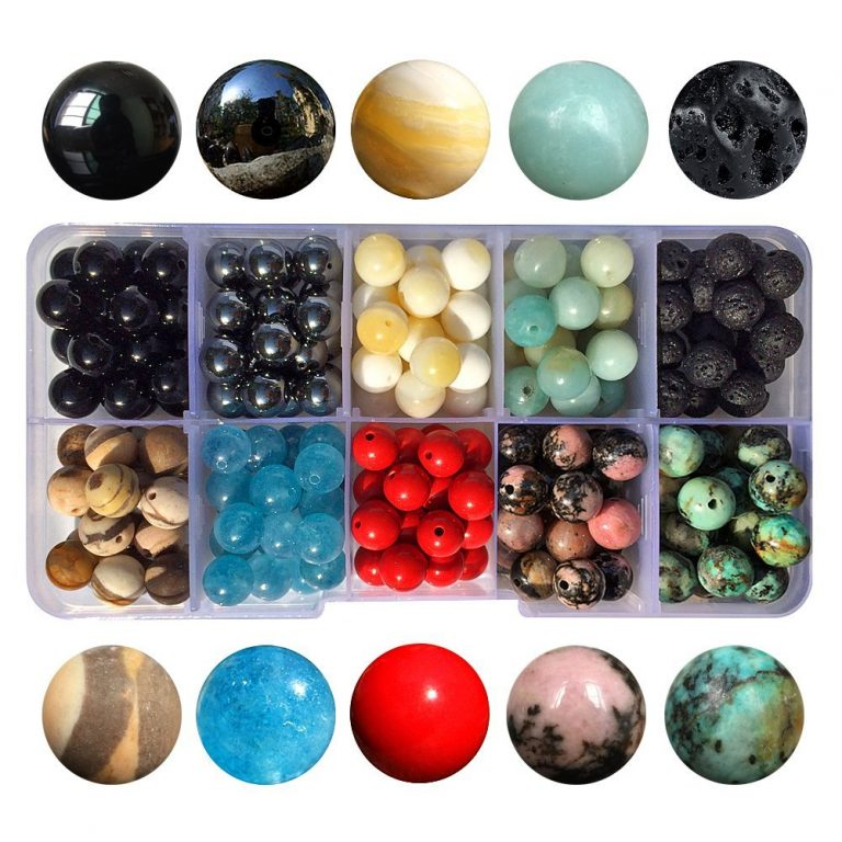 A container with ten different types of gemstone beads.