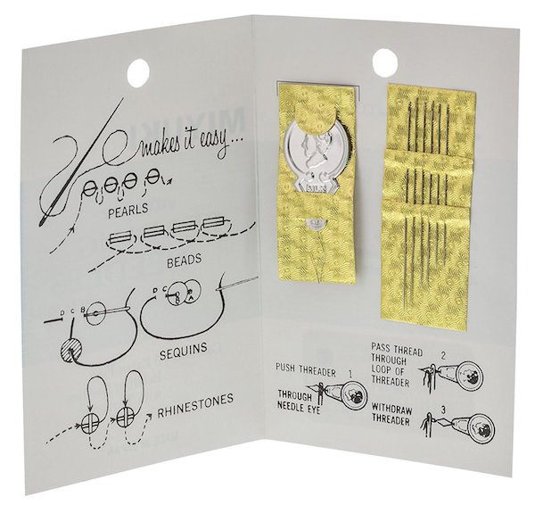 Image of beading needles in a card-like package with instructions -- bead crafts