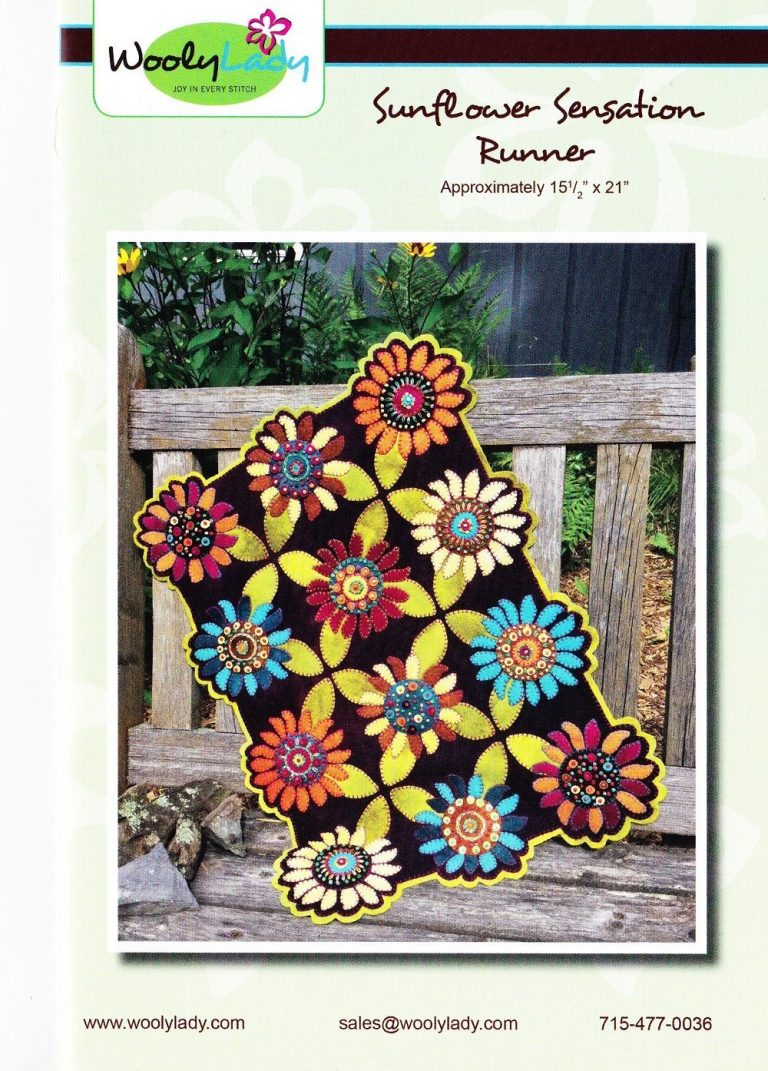 wool craft patterns and kits : a complete kit for making a wool applique flower table runner