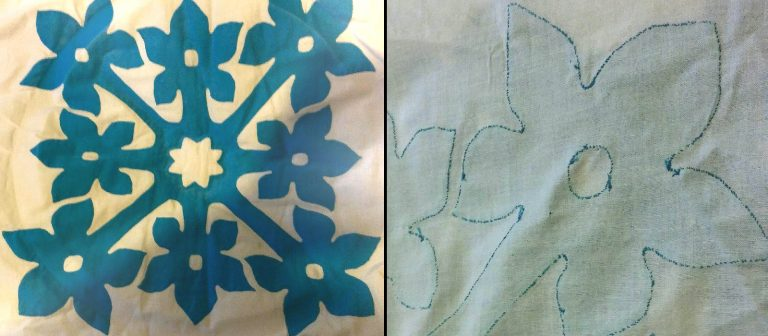 A quilting block with turquoise appliqued flowers, and what applique looks like on the reverse side of the block.