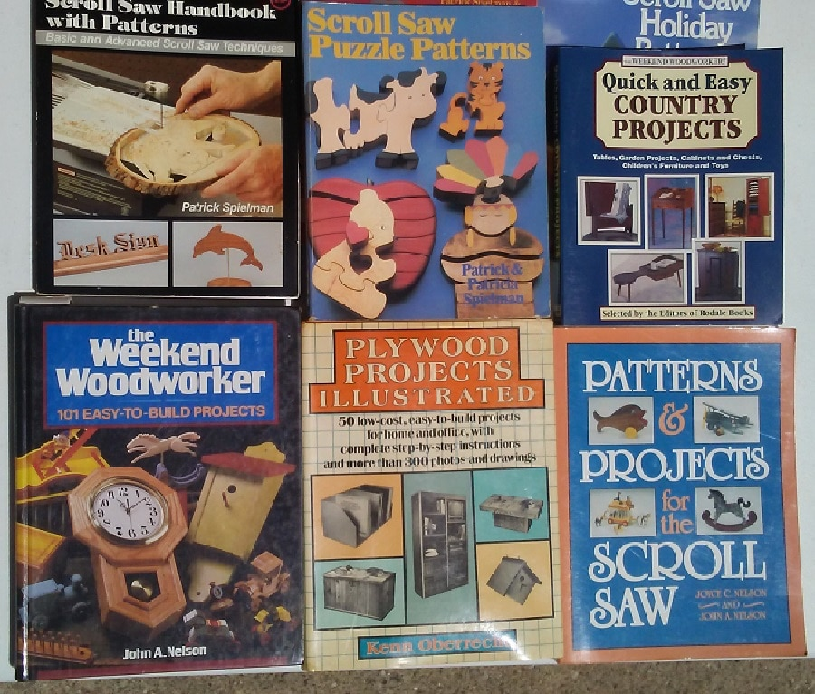Image shows several books about wood crafts
