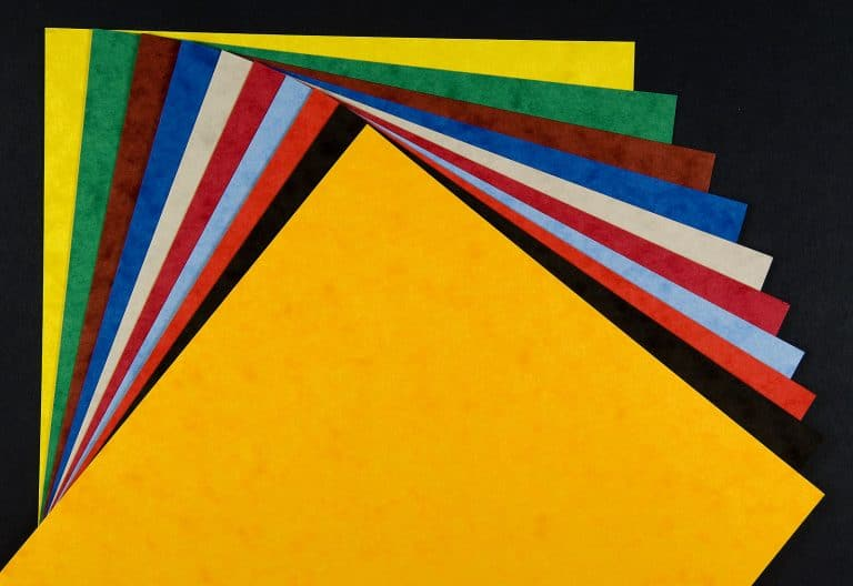 A selection of different colored paper for paper crafts