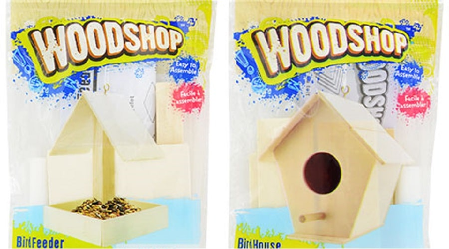 Wood Crafts: Image depicts wooden project kits for a birdhouse and a bird feed available at Dollar Tree stores throughout the country.