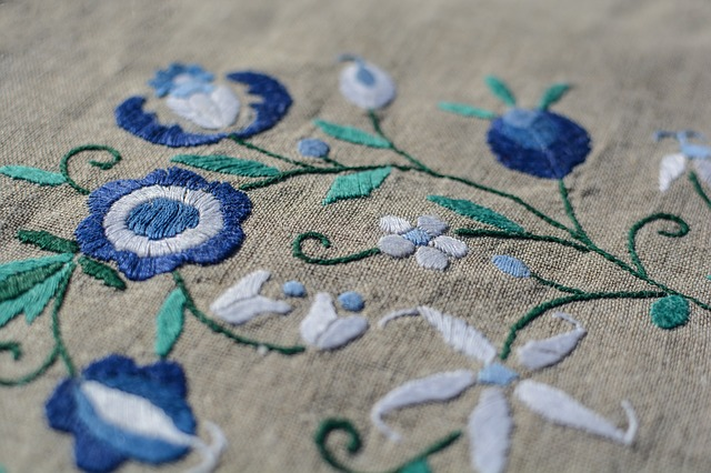 beautiful blue embroidery