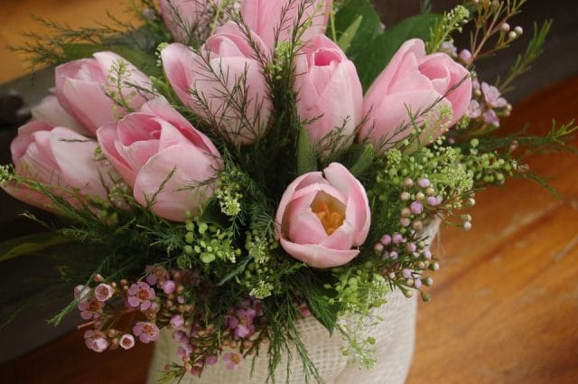 beautiful pink flower floral design in a vase
