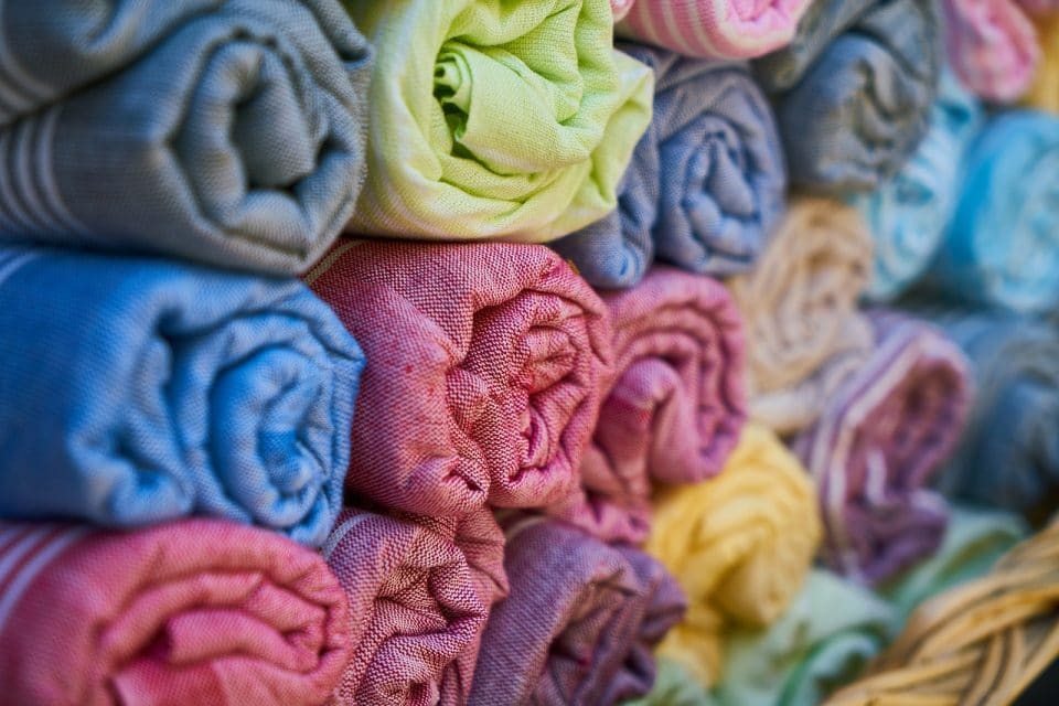 Know your fabrics: these are rolls of different colored fabrics