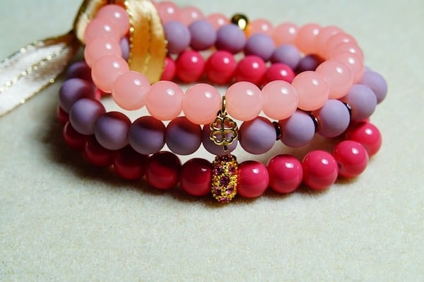 Red, pink and purple beaded bracelet -- bead crafts