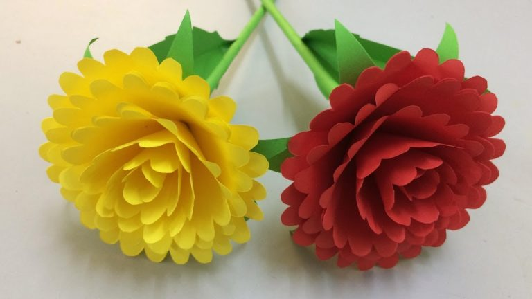 red and yellow flower and how to make paper flowers