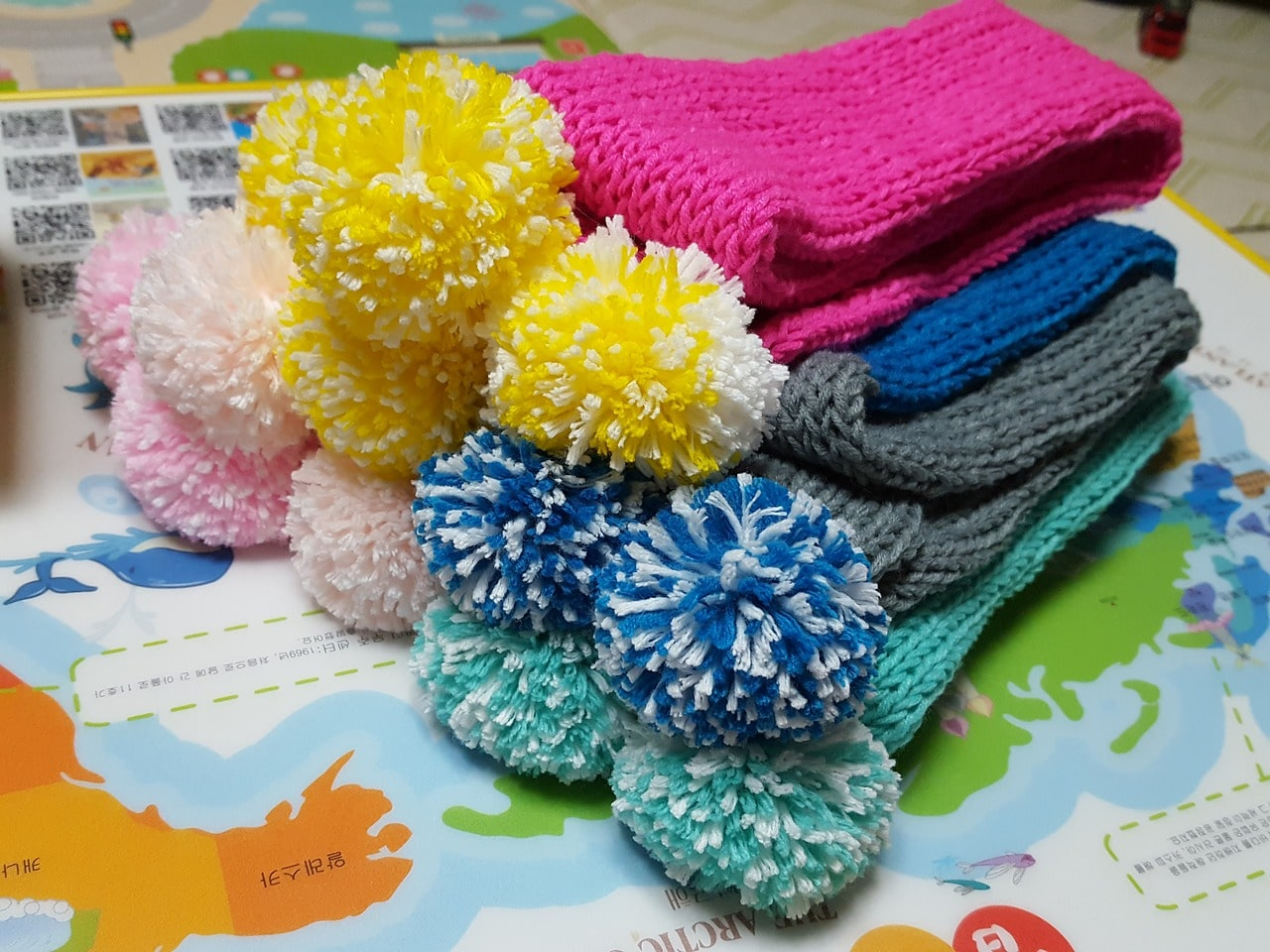 Colorful winter scarves