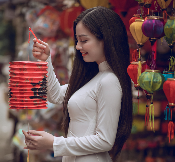 Woman Holding Red Chinese Lantern