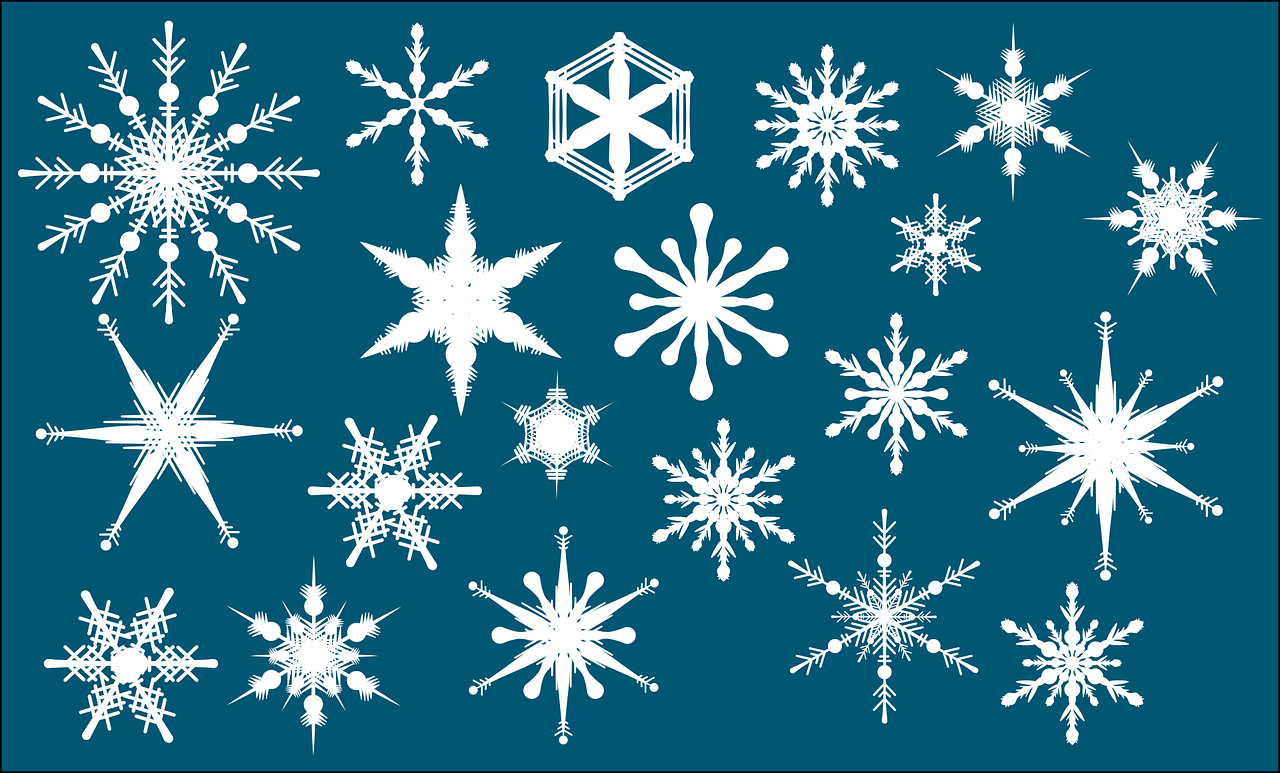 Different kinds of snow flakes template in blue background